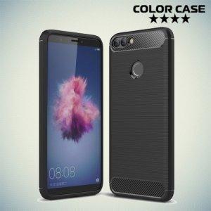 Жесткий силиконовый чехол для Huawei P Smart с карбоновыми вставками - Черный