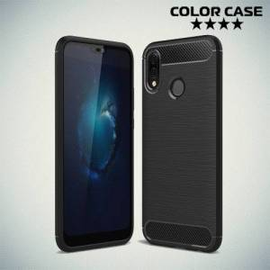 Жесткий силиконовый чехол для Huawei P20 Lite с карбоновыми вставками - Черный