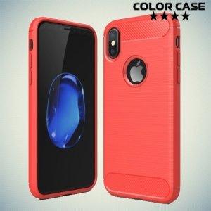 Жесткий силиконовый чехол для iPhone 8 с карбоновыми вставками - Коралловый