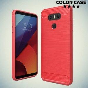 Жесткий силиконовый чехол для LG G6 H870DS с карбоновыми вставками - Коралловый
