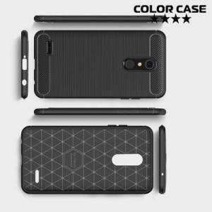 Жесткий силиконовый чехол для LG K10 2018 с карбоновыми вставками - Черный
