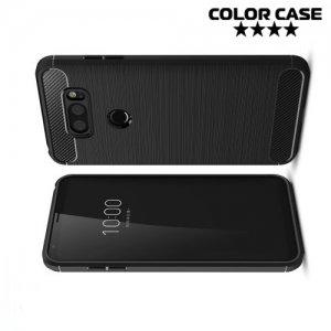 Жесткий силиконовый чехол для LG V30 с карбоновыми вставками - Черный