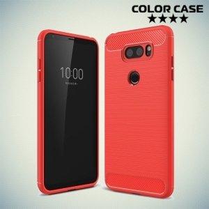 Жесткий силиконовый чехол для LG V30 с карбоновыми вставками - коралловый