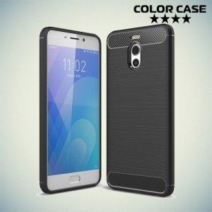 Жесткий силиконовый чехол для Meizu M6 Note с карбоновыми вставками - Черный