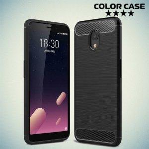 Жесткий силиконовый чехол для Meizu M6s с карбоновыми вставками - Черный