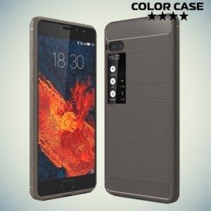 Жесткий силиконовый чехол для Meizu Pro 7 с карбоновыми вставками - Серый