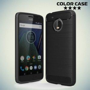 Жесткий силиконовый чехол для Moto G5 с карбоновыми вставками - Черный