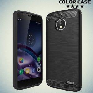 Жесткий силиконовый чехол для Motorola Moto E4 с карбоновыми вставками - Черный