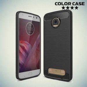 Жесткий силиконовый чехол для Motorola Moto Z2 Play с карбоновыми вставками - Черный