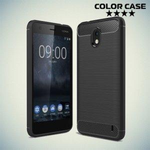 Жесткий силиконовый чехол для Nokia 2 с карбоновыми вставками - Черный