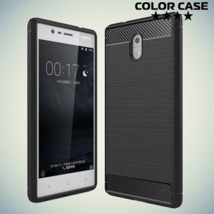 Жесткий силиконовый чехол для Nokia 3 с карбоновыми вставками - Черный