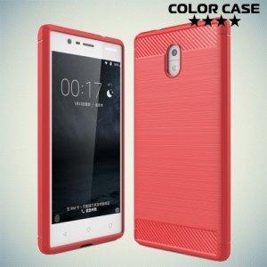 Жесткий силиконовый чехол для Nokia 3 с карбоновыми вставками - Коралловый