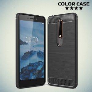 Жесткий силиконовый чехол для Nokia 6.1 2018 с карбоновыми вставками - Черный