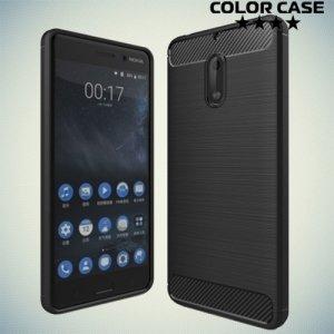 Жесткий силиконовый чехол для Nokia 6 с карбоновыми вставками - Черный