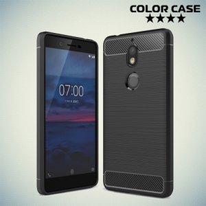 Жесткий силиконовый чехол для Nokia 7 с карбоновыми вставками - Черный