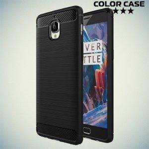 Жесткий силиконовый чехол для OnePlus 3 / 3T с карбоновыми вставками - Черный