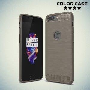 Жесткий силиконовый чехол для OnePlus 5 с карбоновыми вставками - Серый
