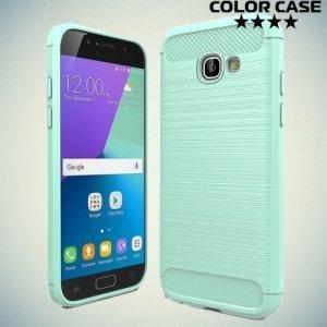 Жесткий силиконовый чехол для Samsung Galaxy A5 2017 SM-A520F с карбоновыми вставками - Бирюзовый