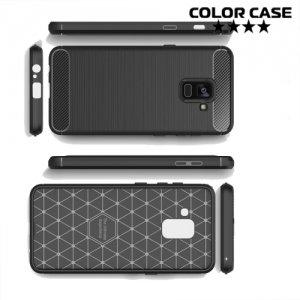 Жесткий силиконовый чехол для Samsung Galaxy A8 2018 с карбоновыми вставками - Черный