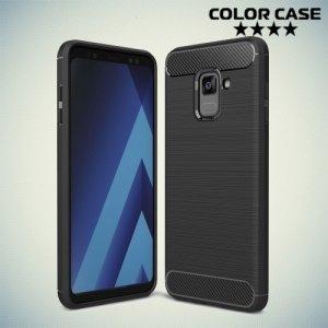 Жесткий силиконовый чехол для Samsung Galaxy A8 Plus 2018 с карбоновыми вставками - Черный