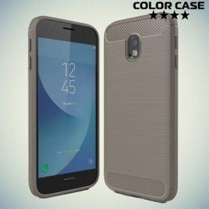 Жесткий силиконовый чехол для Samsung Galaxy J3 2017 SM-J327 с карбоновыми вставками - Серый