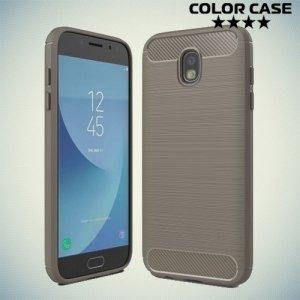 Жесткий силиконовый чехол для Samsung Galaxy J5 2017 с карбоновыми вставками - Серый