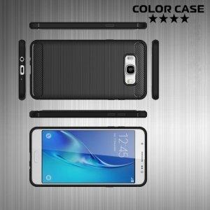 Жесткий силиконовый чехол для Samsung Galaxy J7 2016 SM-J710F с карбоновыми вставками - Черный