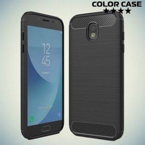 Жесткий силиконовый чехол для Samsung Galaxy J7 2017 с карбоновыми вставками - Черный