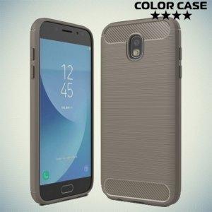 Жесткий силиконовый чехол для Samsung Galaxy J7 2017 с карбоновыми вставками - Серый