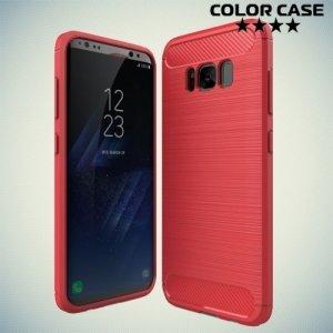 Жесткий силиконовый чехол для Samsung Galaxy S8 Plus с карбоновыми вставками - Коралловый