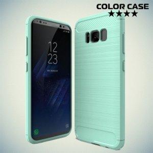 Жесткий силиконовый чехол для Samsung Galaxy S8 с карбоновыми вставками - Бирюзовый