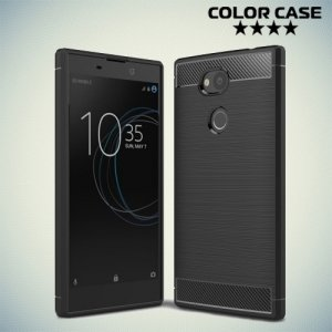 Жесткий силиконовый чехол для Sony Xperia L2 с карбоновыми вставками - Черный