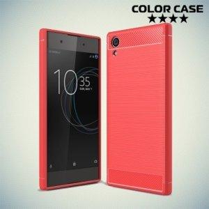 Жесткий силиконовый чехол для Sony Xperia XA1 Plus с карбоновыми вставками - Коралловый