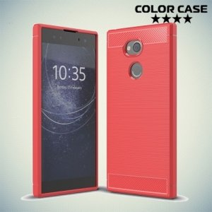 Жесткий силиконовый чехол для Sony Xperia XA2 Ultra с карбоновыми вставками - Коралловый