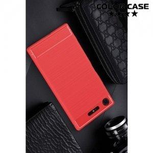 Жесткий силиконовый чехол для Sony Xperia XZ1 с карбоновыми вставками - Коралловый