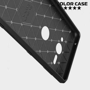 Жесткий силиконовый чехол для Sony Xperia XZ2 Compact с карбоновыми вставками - Черный