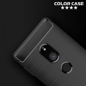 Жесткий силиконовый чехол для Sony Xperia XZ2 с карбоновыми вставками - Черный