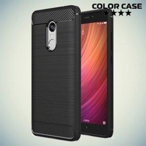Жесткий силиконовый чехол для Xiaomi Redmi Note 4 / 4X с карбоновыми вставками - Черный