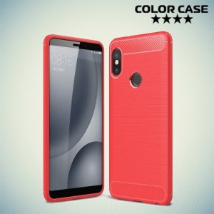 Жесткий силиконовый чехол для Xiaomi Redmi Note 5 / 5 Pro с карбоновыми вставками - Коралловый