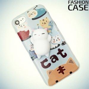3D силиконовый чехол антистресс с мягким котиком для iPhone 8/7 - Белый котик
