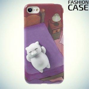 3D силиконовый чехол антистресс для iPhone 8/7 - Спящий котик