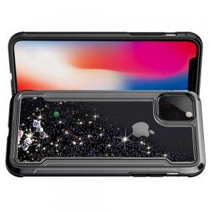 Жидкий переливающийся чехол с блестками для iPhone 11 Черный