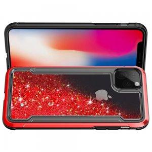 Жидкий переливающийся чехол с блестками для iPhone 11 Красный