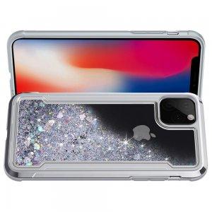 Жидкий переливающийся чехол с блестками для iPhone 11 Pro Серебряный
