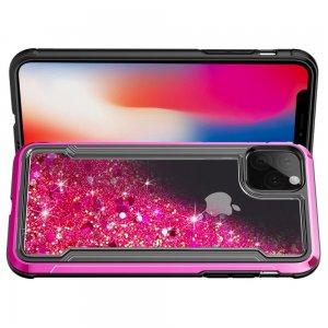 Жидкий переливающийся чехол с блестками для iPhone 11 Светло-Розовый