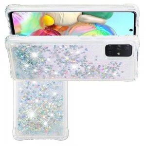 Жидкий переливающийся чехол с блестками для Samsung Galaxy A71 Серебряный